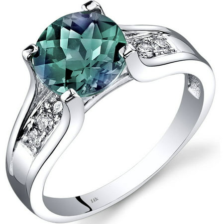 2.25 Carat T.G.W. Created Alexandrite and Diamond Accent 14kt White Gold (14k Created Alexandrite Ring)