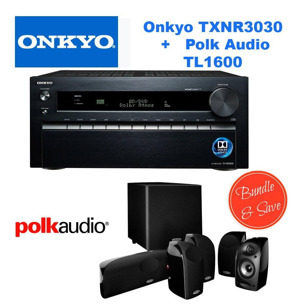 Onkyo TX-NR3030 11.2-Ch Dolby Atmos Ready Network A V Receiver w  HDMI 2.0 + Polk Audio 5.1 TL1600 Speaker System by Onkyo