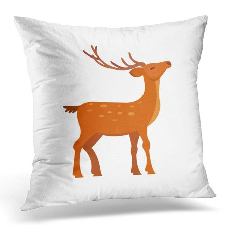 ECCOT Christmas Black Beautiful Graceful Brown Spotted Deer with Antlers Wild Cartoon White Character Pillowcase Pillow Cover Cushion Case 20x20 inch