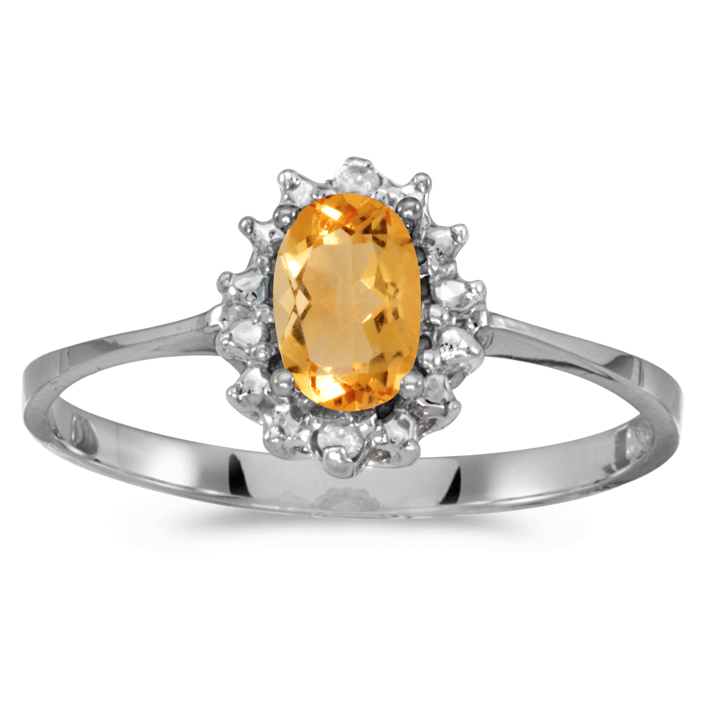 10k White Gold Oval Citrine And Diamond Ring