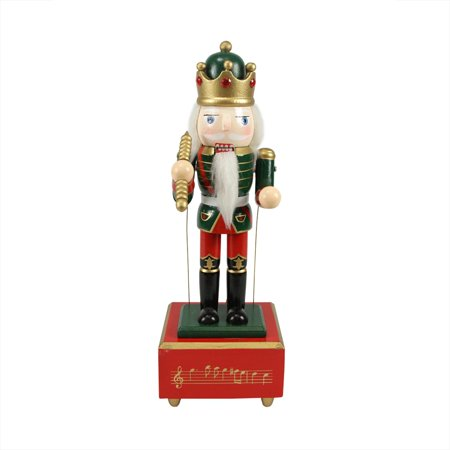 """12"""" Musical and Animated Wooden King with Scepter Christmas Nutcracker"""