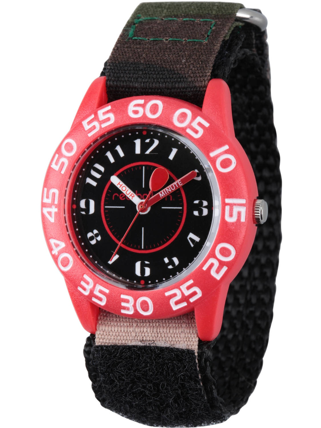 Boys' Red Plastic Time Teacher Watch, Camo Hook and Loop Nylon Strap with Black Backing