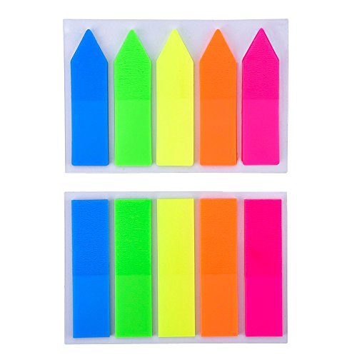 eBoot 2 Sets Neon Page Marker Index Tabs Flags Sticky Note for Marking, 250 Pieces