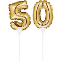"""Birthday Balloon Cake Toppers 3 1/2"""" Ballon 9"""" H """"50"""" Gold,Pack of 2 EA"""
