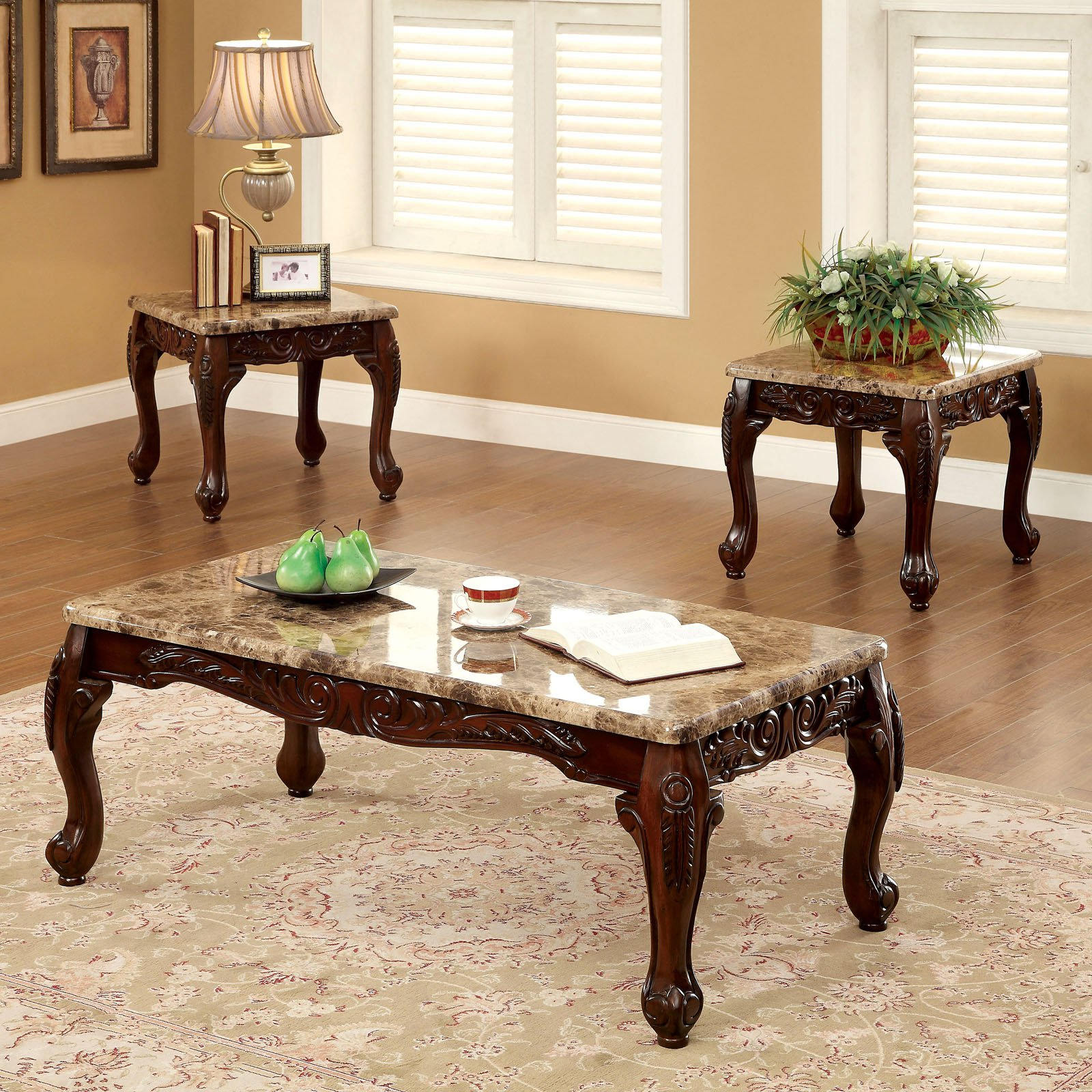 Furniture Of America Tollero Traditional Style 3 Piece Faux Marble