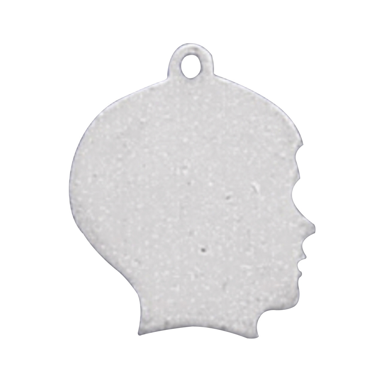 Sterling Silver Girls .8mm Box Chain Large Engraveable Boy Profile Pendant Necklace