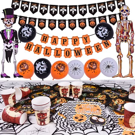 Halloween Decorations Party Supplies Fovar for Easter Egg Fillers Gift with Balloon,Paper Plate,Cup,Table Cloth, Banners and Hanging Skeleton Props 88PCs F-186 - Halloween Cups And Plates