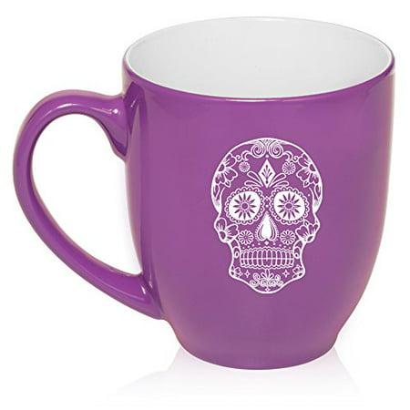 16 oz Large Bistro Mug Ceramic Coffee Tea Glass Cup Sugar Candy Skull (Purple) (Sugar Skull Glasses)