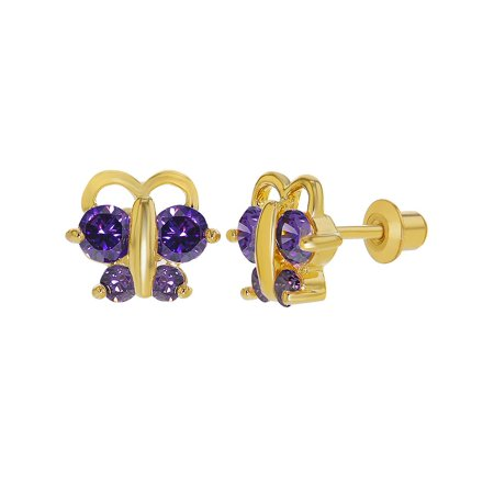 18k Gold Plated Purple Crystal Tiny Butterfly Screw Back Earrings Children Kids