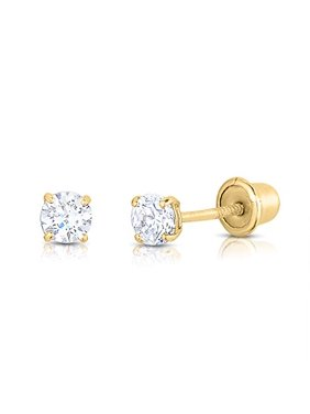 14k Yellow Gold Solitaire Round Cubic Zirconia Stud Earrings in Secure Screw-backs (2mm)