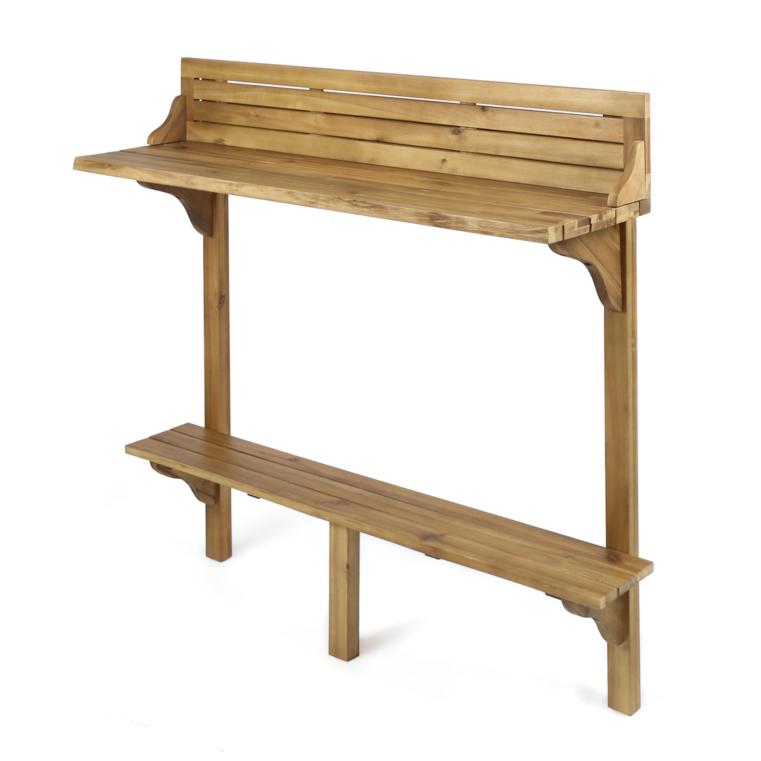Cassie Outdoor Acacia Wood Balcony Bar Table, Natural Finish