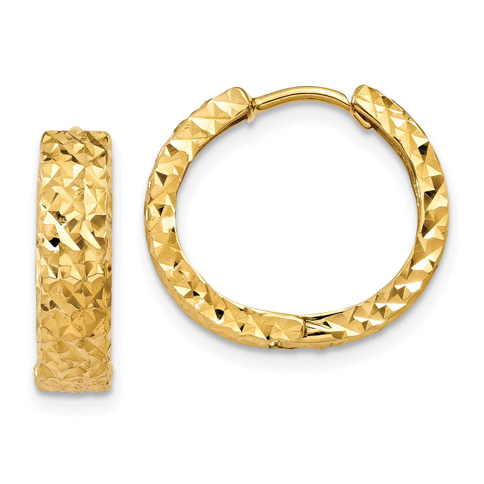 14K Yellow Gold Diamond Cut Hinged Hoop Earrings - image 4 of 4