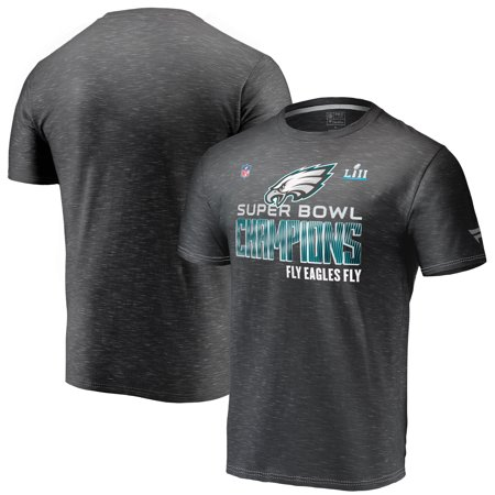 Philadelphia Eagles NFL Pro Line by Fanatics Branded Super Bowl LII Champions Trophy Collection Locker Room T-Shirt - Heather Black (Super Bowl Block)