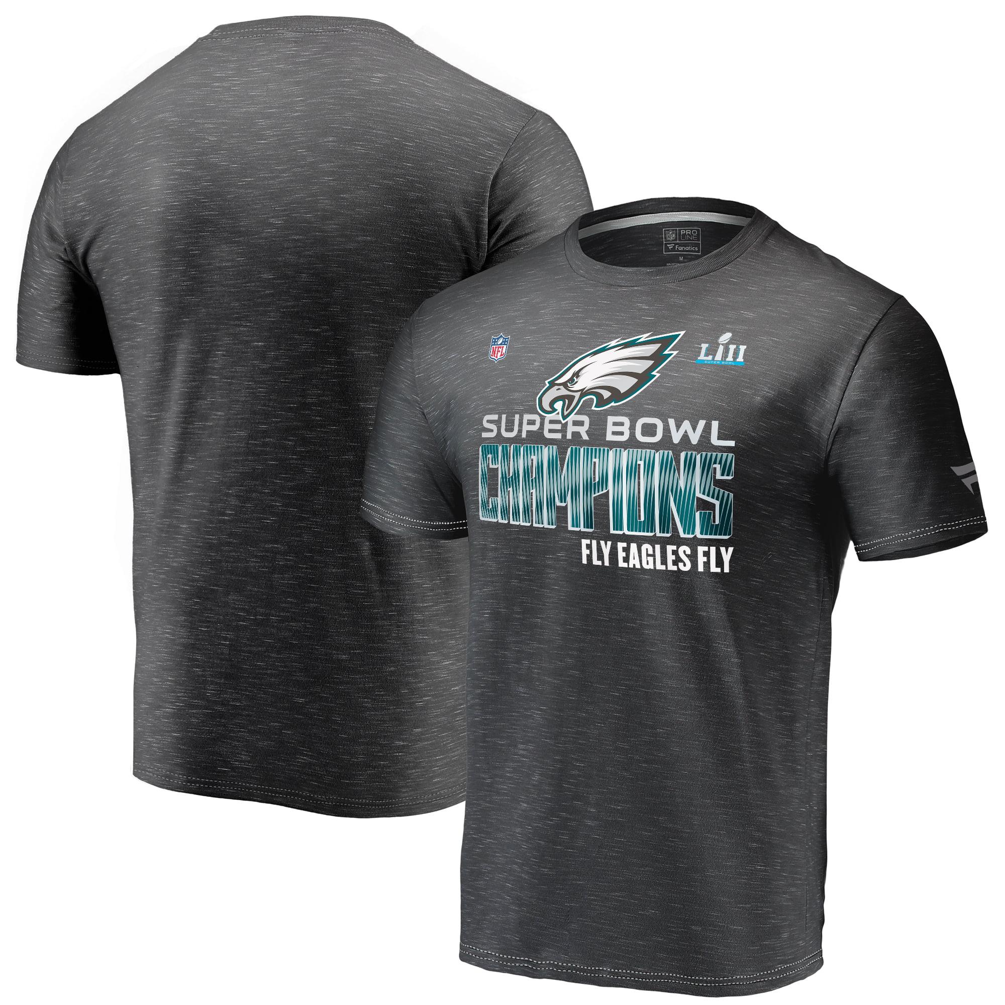 Philadelphia Eagles NFL Pro Line by Fanatics Branded Super Bowl LII Champions Trophy Collection Locker Room T-Shirt - Heather Black