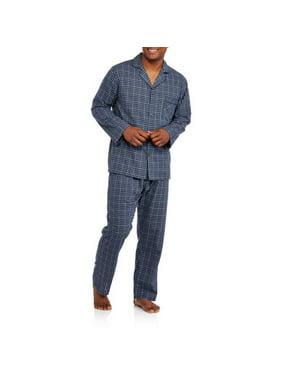 Hanes Men's Long Sleeve, Long Pant Woven Pajama Set