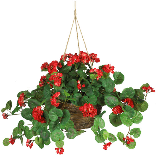 Nearly Natural Geranium Hanging Basket Silk Plant