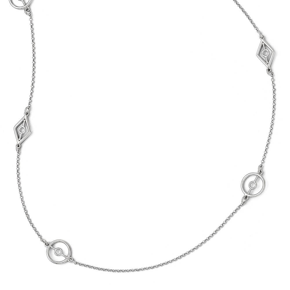 Sterling Silver Polished and Textured Necklace - 11.1 Grams - 36 Inch