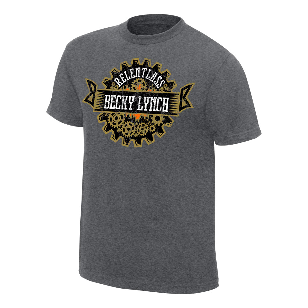 """Official Wwe Authentic Becky Lynch """"Relent-Lass"""" Grey Youth T-Shirt Heather Grey Small"""
