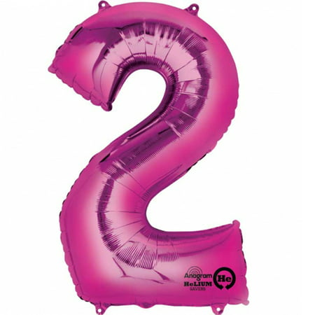 Mayflower Distributing 63725 34 inch 2 PINK NUMBER SHAPE BALLOON -PKG - Number 2 Balloons