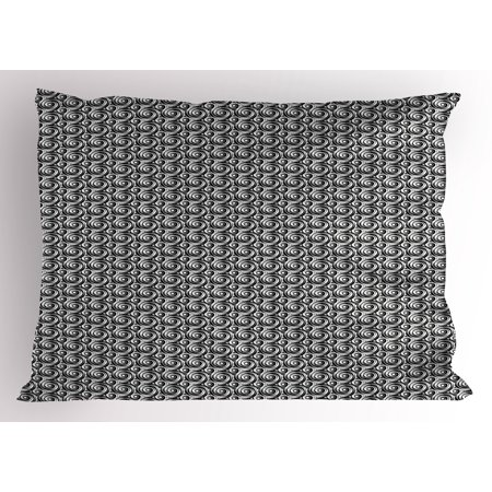 Gothic Tattoos (Modern Pillow Sham Spiral Symmetric Circles Grunge Graffiti Tattoo Gothic Minimalist Swirl Pattern, Decorative Standard Size Printed Pillowcase, 26 X 20 Inches, Black and White, by)