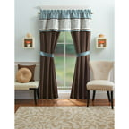 Better Homes and Gardens Ombre Scroll 5-Piece Window Set, Curtain Panels and Valance Included