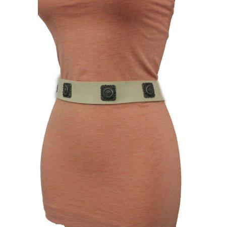 Suede Designer Belt (Women Tie Belt Off White Ethnic Charms Hip High Waist Genuine Suede Leather M L )