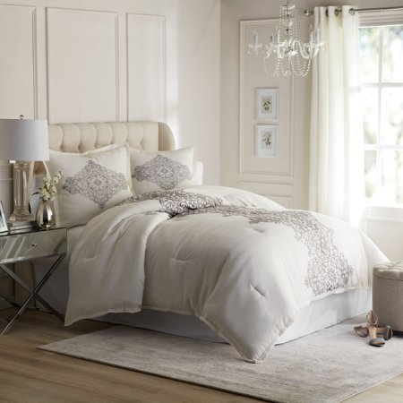 Hotel Style Manchester Comforter Set, Ivory, Queen