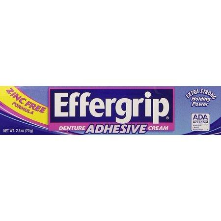 Effergrip Denture Adhesive Cream, Extra Strong Holding Power, 2.5 OZ Effergrip Denture Adhesive Cream