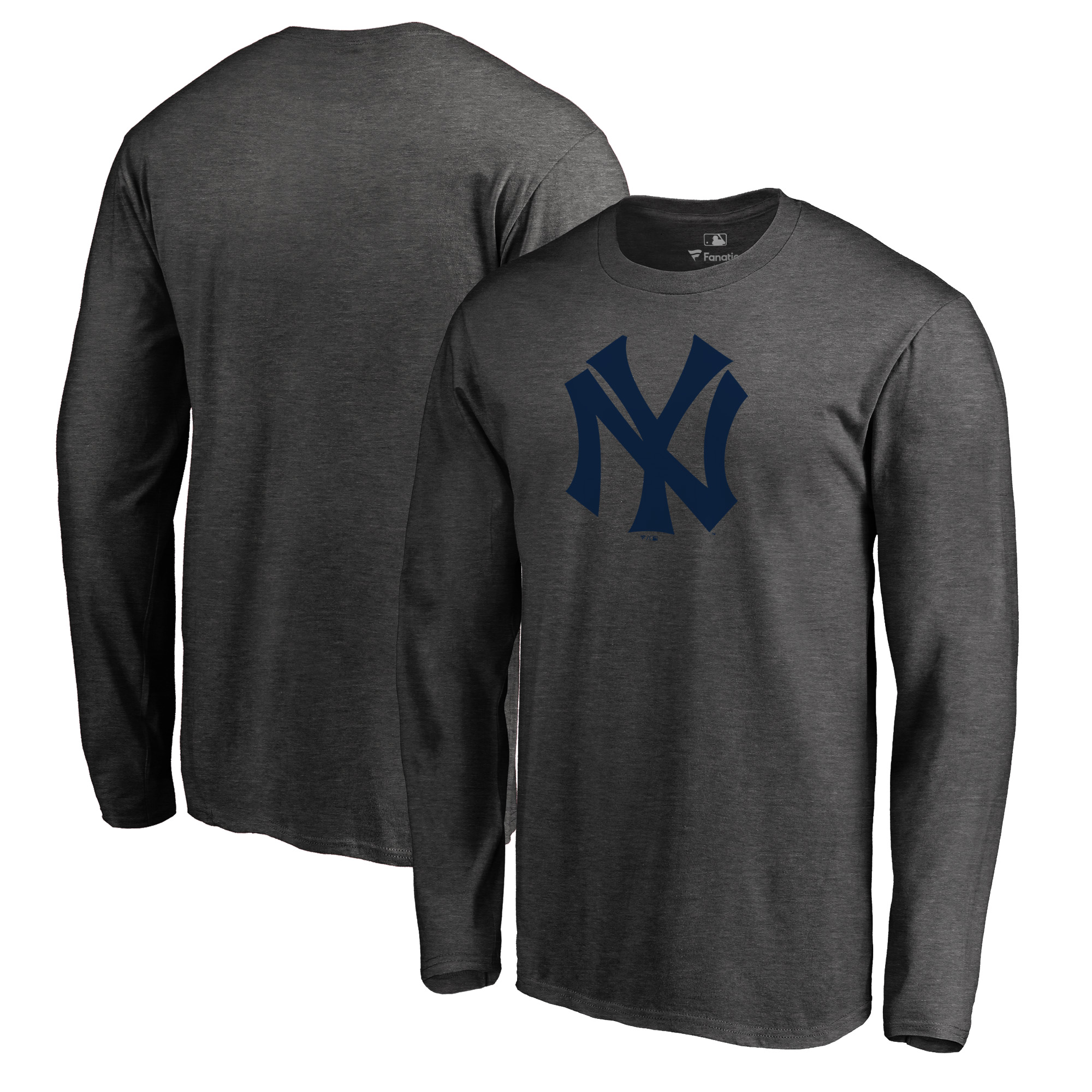 New York Yankees Fanatics Branded Cooperstown Collection Huntington Long Sleeve T-Shirt - Heathered Gray