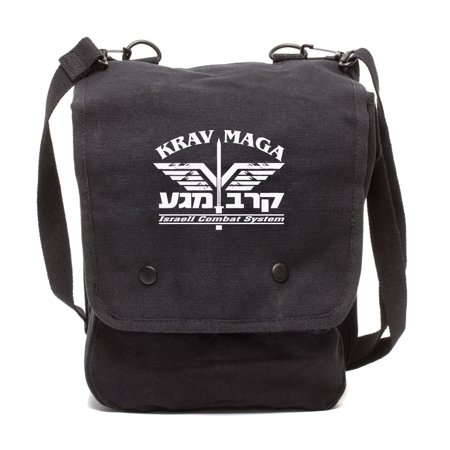 Krav Maga Israeli Combat System Martial Arts Canvas Crossbody Travel Map Bag Case in Black &