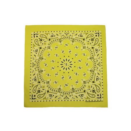 CTM®  Cotton Neon Paisley Bandanas, Yellow - Green Bandanna
