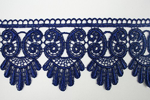 """5//8/"""" to 5-1//8/"""" Wide Royal Blue Dark Embroidered Venice Lace Guipure Trim by Yard"""