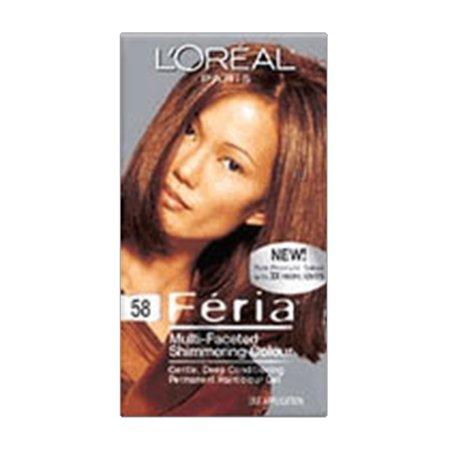 Loreal Feria Multi Faceted Shimmering Haircolor, 58 Bronze Shimmer, Medium Golden Brown - 1 (Brown Skimmer)