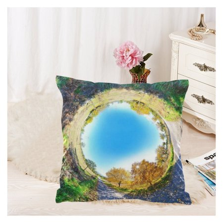 ZKGK Autumn Fall Forest Tree Leaves Zippered Cushion Pillowcase 18 x 18 ( Twin Sides ),Yellow Leaf Spring Blue Sky Pillow Cases Cover Set Shams Decorative for Couch (Fall Forest Leaves)
