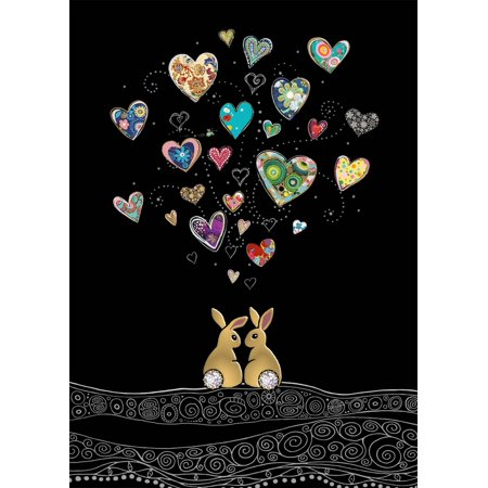 Bug Art Love Bunnies with Floating Hearts Blank Note Card