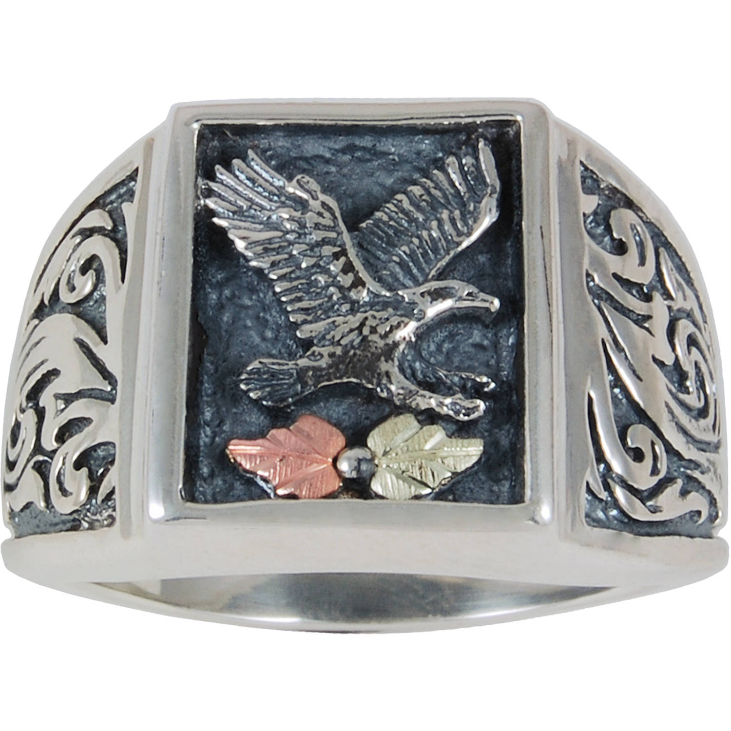 Black Hills Gold Men's Sterling Silver 12kt Leaf Accented Oxidized Eagle Ring