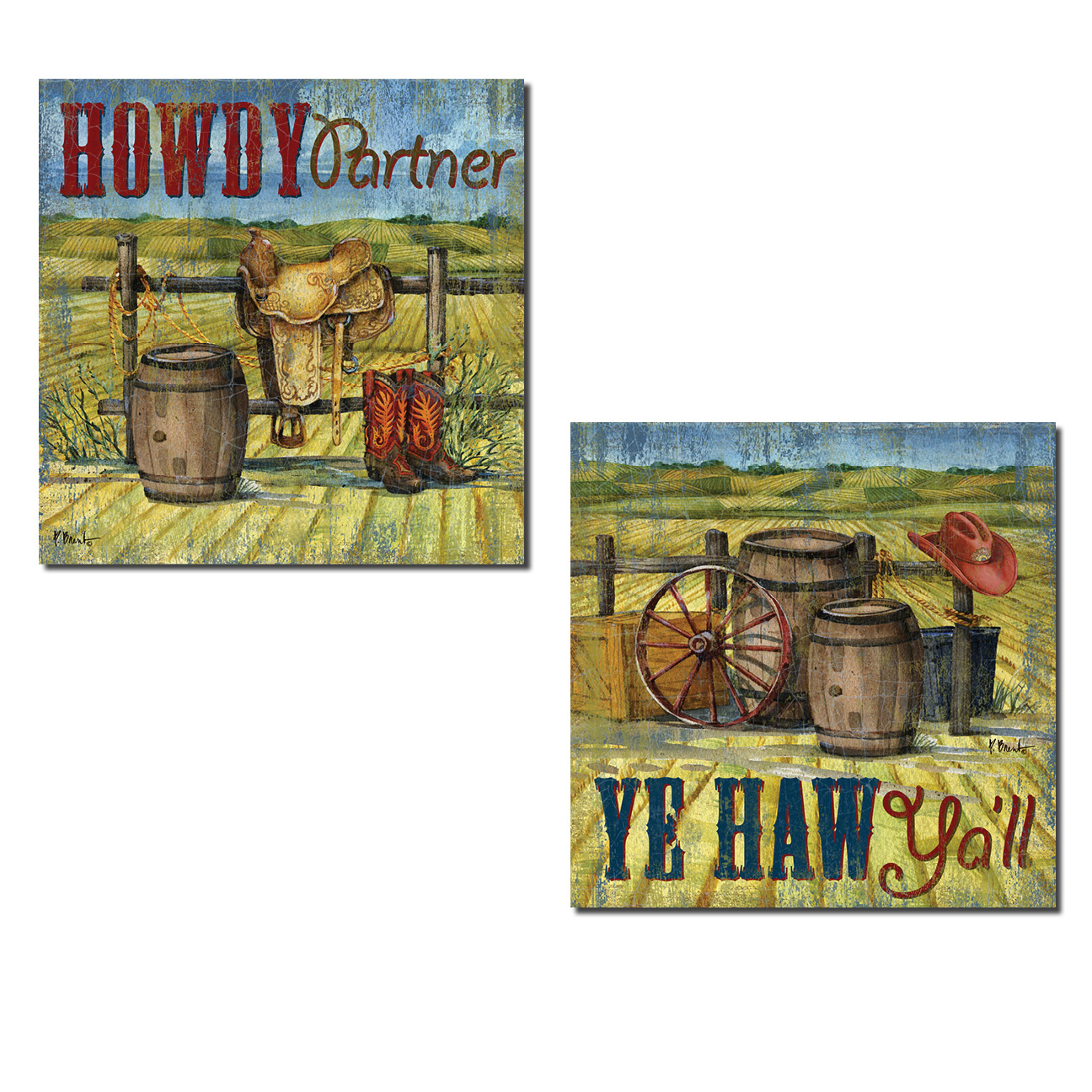"Fun Wild West ""Howdy Partner"" and ""Yehaw Ya'll"" Poster Prints; Country Rustic Decor; Two 12x12in Poster Prints"