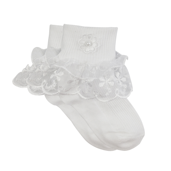 ,White Set of 2 8-10 Wrapables Lil Miss Daisy Double Layer Lace Ruffle Socks