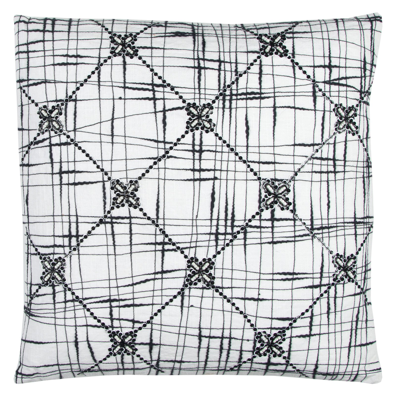 "Rizzy Home Decorative Poly Filled Throw Pillow Geometric Textured Abstract 20""X20"" Black"