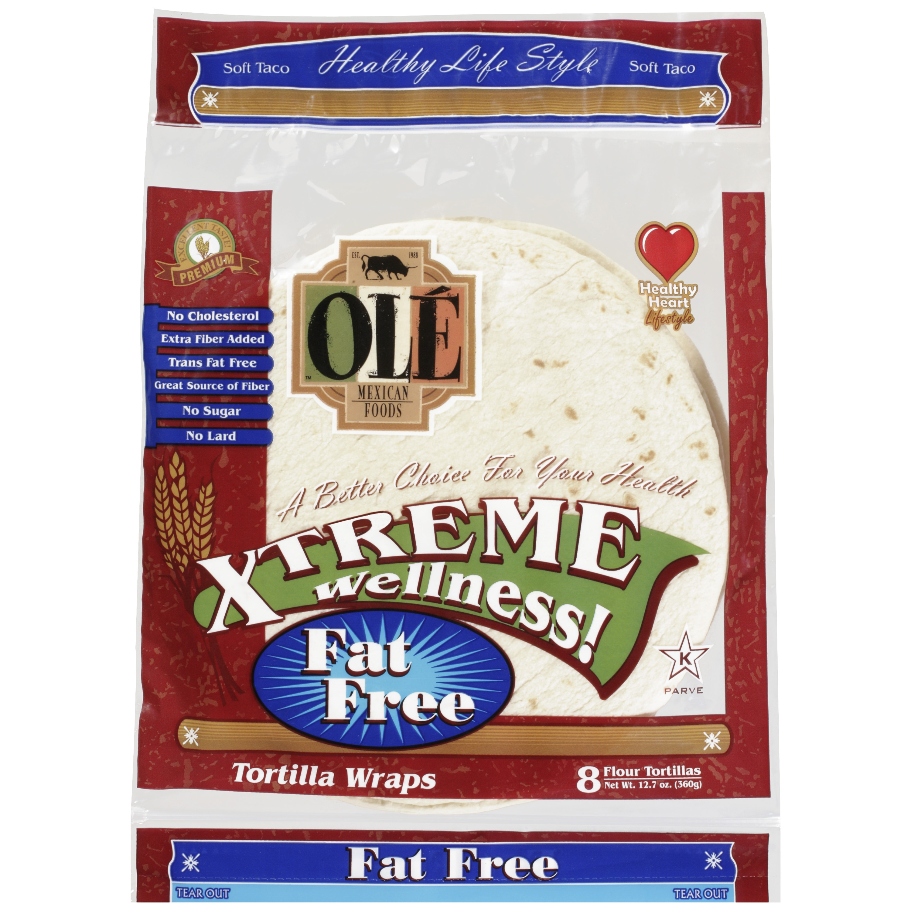 OLE Mexican Foods Xtreme Wellness! 8 Inch Fat Free Flour Tortillas, 8ct