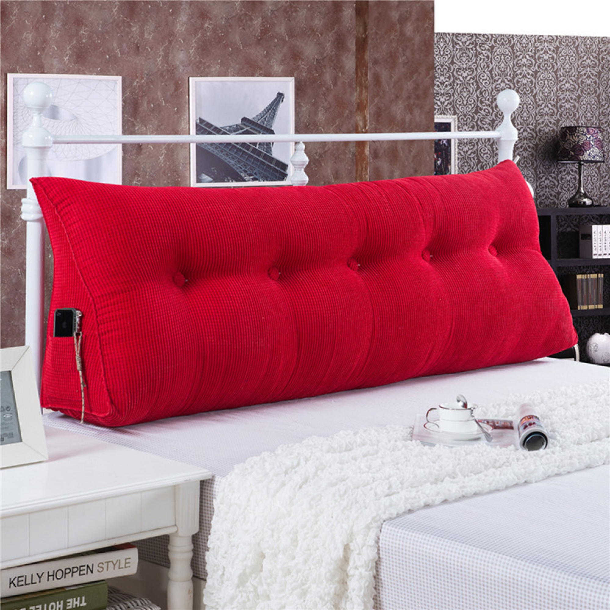 Sofa Bed Large Filled Triangular Wedge Cushion Backrest Positioning Support Pillow Reading Office Lumbar Pad With Removable Cover Red