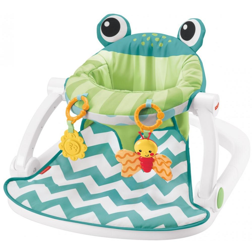 Fisher-Price Sit-Me-Up Floor Seat with 2 Linkable Toys, Citrus Frog
