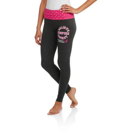 53e63dd85b730 SUSAN G KOMEN - Women's Yoga Leggings with Foldover Waistband ...