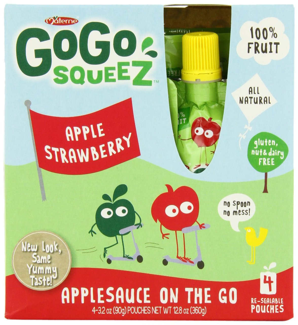 12 PACKS : GoGo SqueeZ Apple/Strawberry, Applesauce on the Go, 3.2-Ounce Pouches