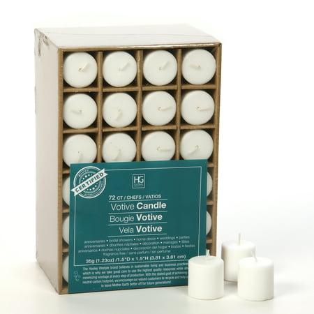 59fd98adfdb Hosley s Set of 72 White Unscented Votive Candles. O2 - Walmart.com