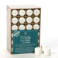 Hosley Set of 72 White Unscented Votive Candles. O2