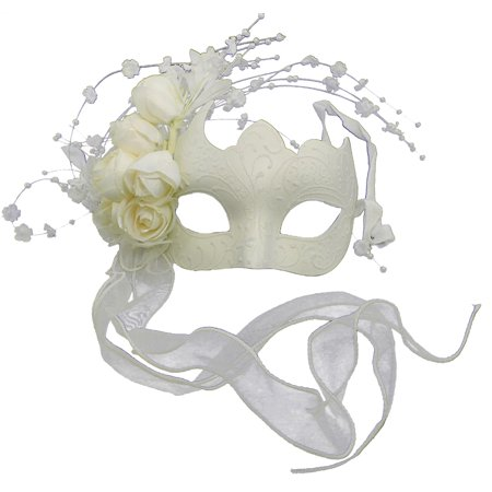 WHITE w/ ROSES MASQUERADE MASK - Venetian - FANCY PARTY