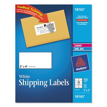 Avery White Shipping Labels with TrueBlock Technology 18163 2 x – Large Mailing Labels