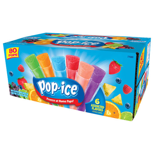 Pop-Ice Assorted Flavors Freezer Pops, 1.5 oz, 80 count