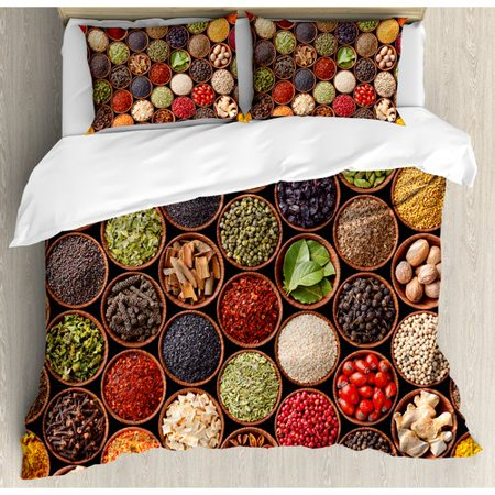Ambesonne Kitchen Colorful Herbs and Spices Cardamom Pepper Chili Ginger  Dill Natural Cuisine Print Duvet Cover Set